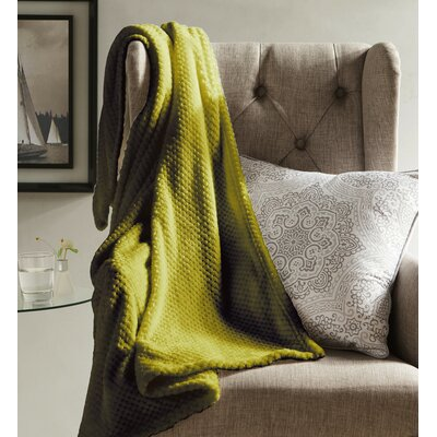 Myrcella Textured Fleece Throw Blanket Color: Yellow and Green