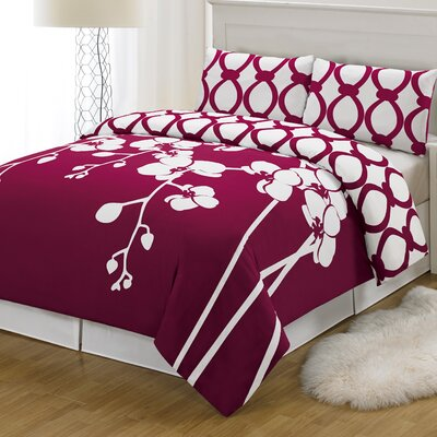 April 3 Piece Reversible Duvet Cover Set Size: King