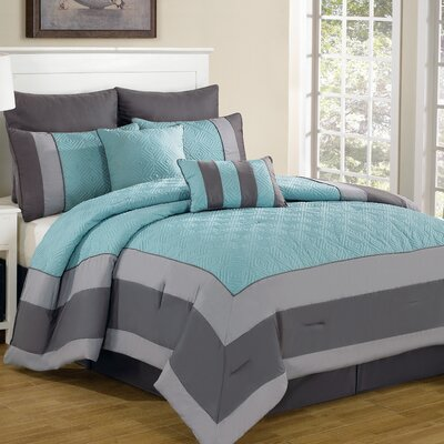 Spain 8 Piece Comforter Set Size: Queen, Color: Blue / Smoke