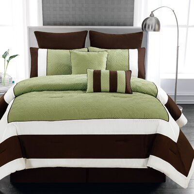 Spain 8 Piece Comforter Set Color: Sage / Chocolate, Size: King