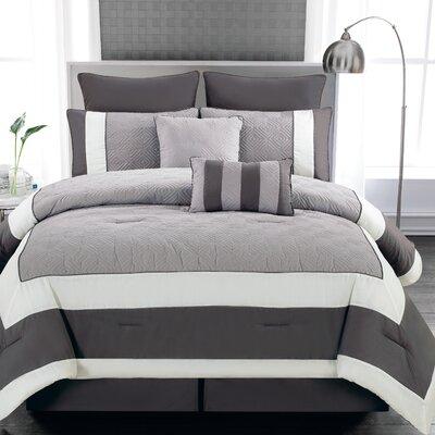 Spain 8 Piece Comforter Set Color: Sandstone / Smoke, Size: King