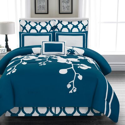 April 6 Piece Reversible Comforter Set Color: Indigo, Size: King