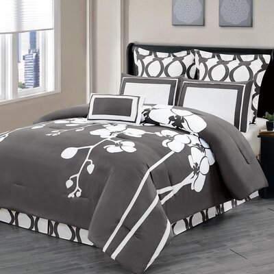 April 7 Piece Reversible Comforter Set Color: Slate Gray, Size: King