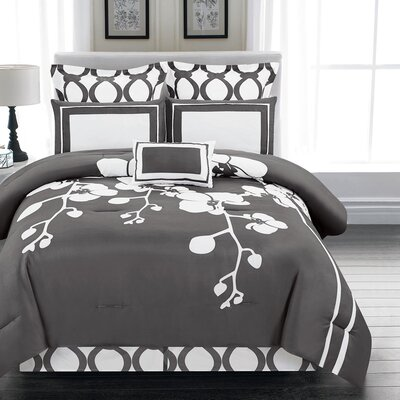 April 6 Piece Reversible Comforter Set Size: Queen, Color: Slate Gray