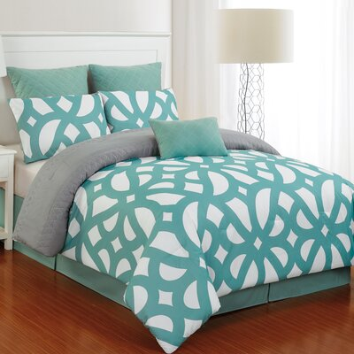 Uxbridge 7 Piece Reversible Comforter Set Size: Queen, Color: Dusty Teal / Gray