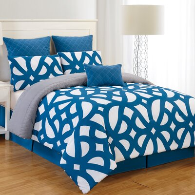 Uxbridge 7 Piece Reversible Comforter Set Size: Queen, Color: Indigo / Gray