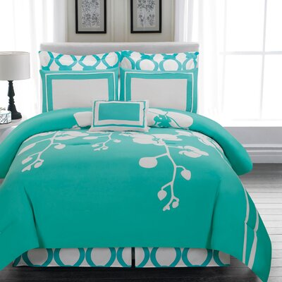 April 6 Piece Reversible Comforter Set Color: Teal, Size: King