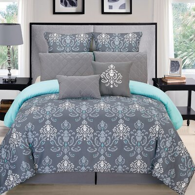 Lucienda Comforter Set Size: King, Color: Gray/Blue