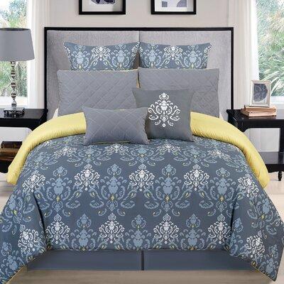 Lucienda 8 Piece Comforter Set Size: Queen, Color: Gray/Green