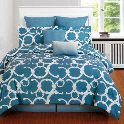 Margret 8 Piece Comforter Set Size: King, Color: Slate Blue