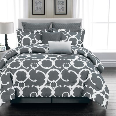 Rhys 7 Piece Comforter Set Size: Queen, Color: Gray