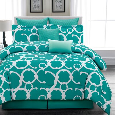 Margret 7 Piece Comforter Set Size: Queen, Color: Dusty Teal