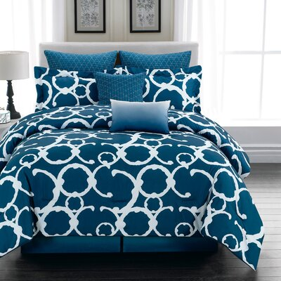 Margret 7 Piece Comforter Set Color: Indigo, Size: King