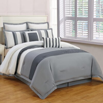 Rochester 8 Piece Comforter Set Size: Queen, Color: Gray