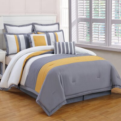 Rochester 8 Piece Comforter Set Color: Yellow / Gray, Size: King