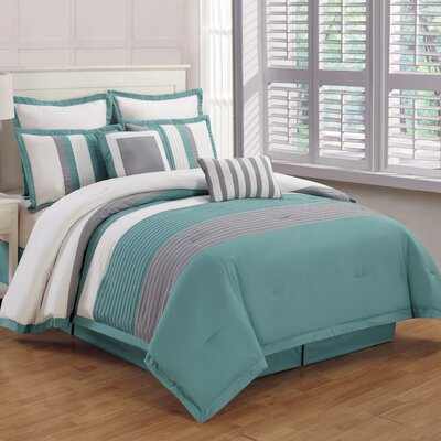 Rochester 8 Piece Comforter Set Color: Teal / Gray, Size: King