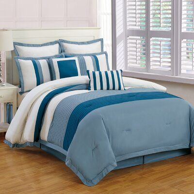 Rochester 8 Piece Comforter Set Color: Indigo, Size: King