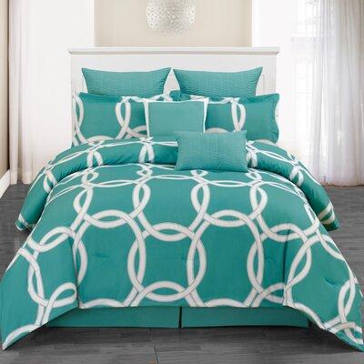 Redington 8 Piece Comforter Set Size: Queen, Color: Blue Green