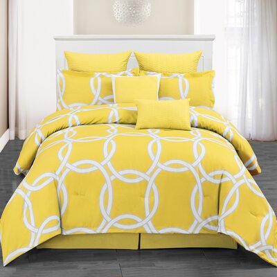 Redington 8 Piece Comforter Set Color: Yellow, Size: King