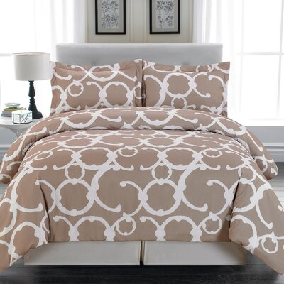 Rhys 3 Piece Full/Queen Duvet Cover Set Color: Tan