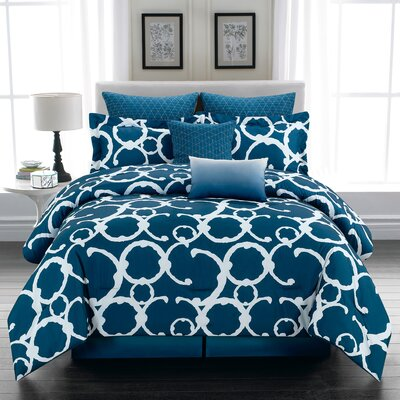 Margret 8 Piece Comforter Set Color: Indigo, Size: King