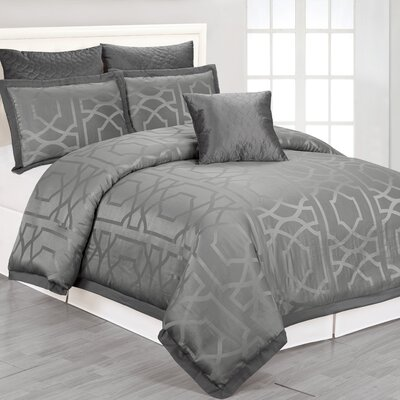 Kendra Comforter Set in Grey Size: Queen