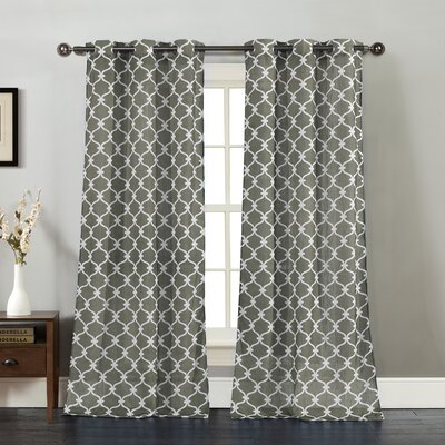Anya Curtain Panels Color: Charcoal