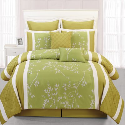 Riverbank 8 Piece Comforter Set Color: Green, Size: Queen