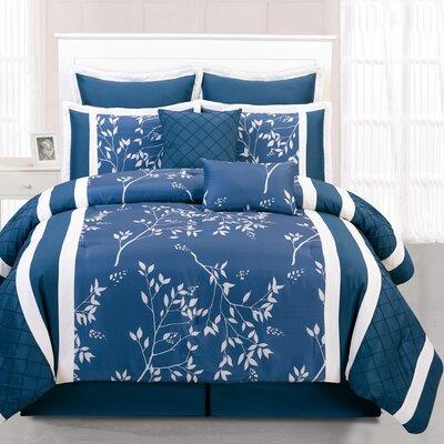 Riverbank 8 Piece Comforter Set Color: Indigo, Size: Queen