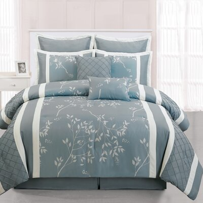 Riverbank 8 Piece Comforter Set Color: Light Blue, Size: Queen