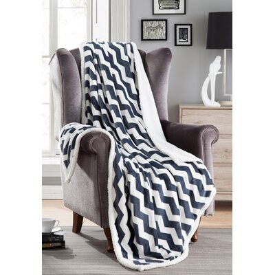 Fofo Sherpa Throw Blanket Color: Navy