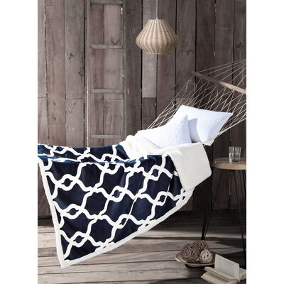 Esy Sherpa Throw Blanket Color: Navy