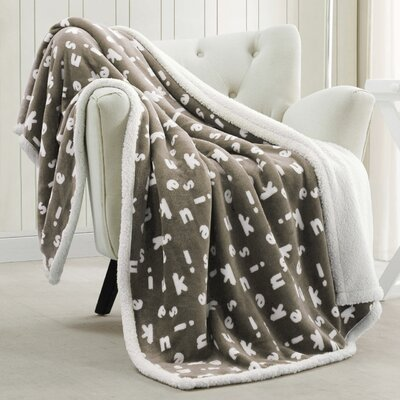 Mika Sherpa Throw Blanket Color: Taupe