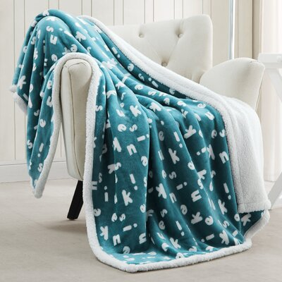 Mika Sherpa Throw Blanket Color: Light Blue