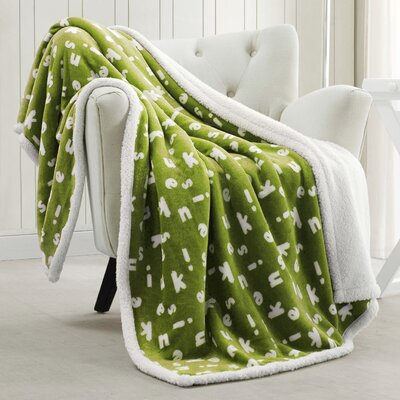 Mika Sherpa Throw Blanket Color: Green Pea