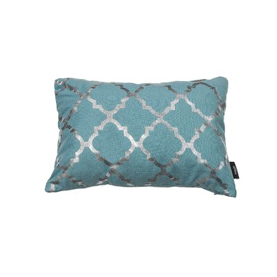 Holly Decorative Lumbar Pillow Color: Aqua Blue/Silver
