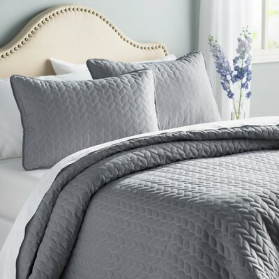 Baldwin Reversible Coverlet Set in Gray Size: King