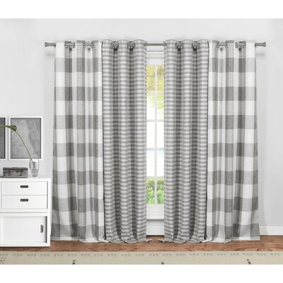 Dedric Plaid and Striped Blackout Thermal Curtain Panels Color: Gray