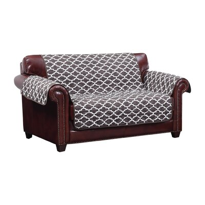 Reversible Water Resistent Box Cushion Loveseat Slipcover Upholstery: Chocolate
