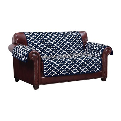 Reversible Water Resistent Box Cushion Loveseat Slipcover Upholstery: Navy