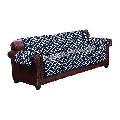 Box Cushion Sofa Slipcover Upholstery: Navy