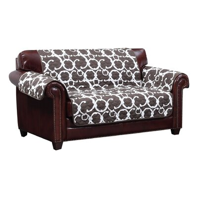 Margret Reversible Box Cushion Loveseat Slipcover Upholstery: Chocolate