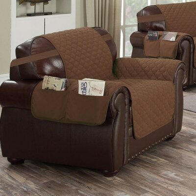 Reversible Waterproof Polyester Armchair Slipcover Upholstery: Chocolate-Natural