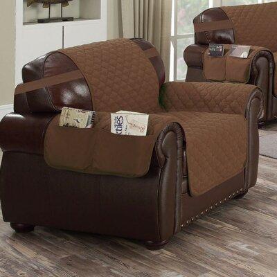 Box Cushion Armchair Slipcover Upholstery: Chocolate-Natural