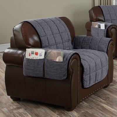 Reversible Chenille Armchair Slipcover Upholstery: Silver-Black