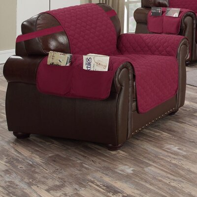 Box Cushion Armchair Slipcover Upholstery: Garnet-Natural