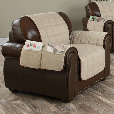 Reversible Chenille Armchair Slipcover Upholstery: Taupe-Chocolate