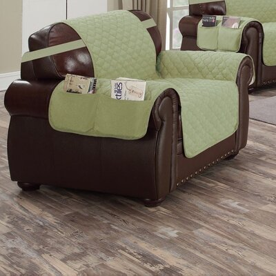 Reversible Waterproof Polyester Armchair Slipcover Upholstery: Sage-Chocolate