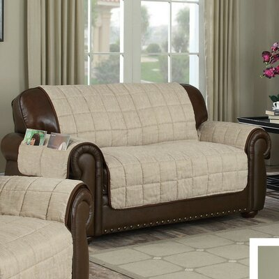 Reversible Box Cushion Loveseat Slipcover Upholstery: Taupe-Chocolate