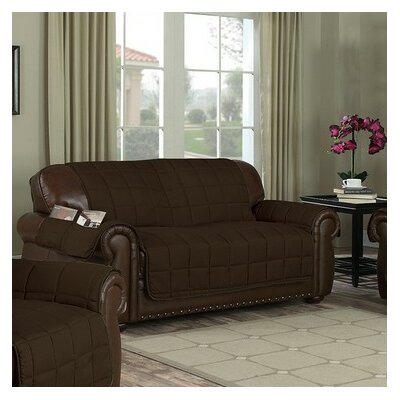 Reversible Box Cushion Loveseat Slipcover Upholstery: Chocolate-Taupe